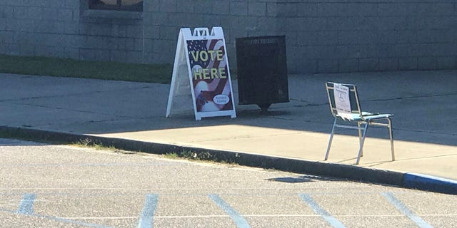 A polling station sign in Columbia, South Carolina, on presidential primary day, Feb. 29, 2020