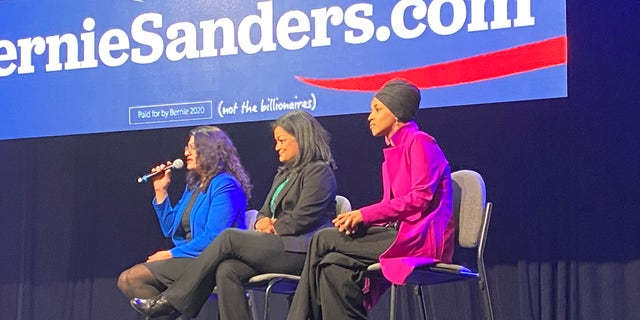 Bernie Sanders surrogates Reps. Rashida Tlaib of Michigan, Pramila Jayapal of Washington State, and Ilhan Omar of Minnesota speak at a Sanders campaign rally and concert on Jan. 31 in Clive, Iowa