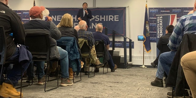 Democratic presidential candidate Andrew Yang speaks at a campaign event in Plymouth, NH on Feb. 6, 2020