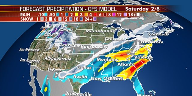 The storm system is forecast to move to the East Coast by the end of the week.