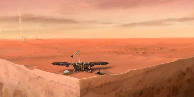 In this artist's concept of NASA's InSight lander on Mars, layers of the planet's subsurface can be seen below and dust devils can be seen in the background. (Credit: IPGP/Nicolas Sarter)