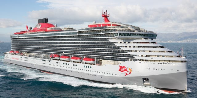 Sir Richard Branson has formally christened the first ocean liner, the Scarlet Lady, pictured, of his new luxury Virgin Voyages cruise company.