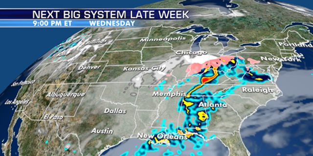 Precipitation will shift east throughout the week.