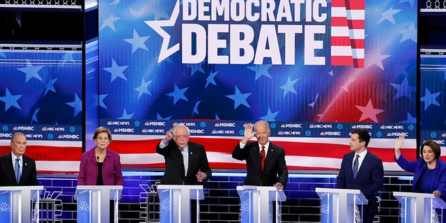 """President Trump even agreed with liberal pundits, tweetingthat Bloomberg gave the """"worst debate performance in history.""""(AP Photo/John Locher)"""