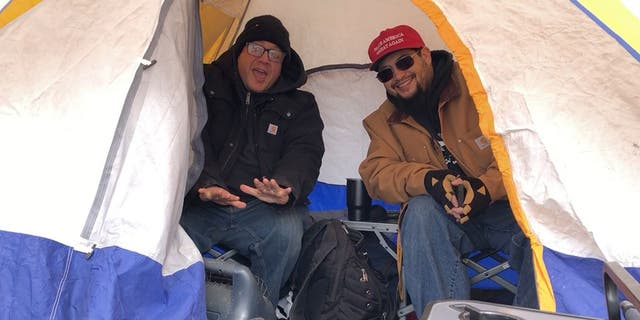 Trump supporters camping out in advance of the rally in Colorado Springs.