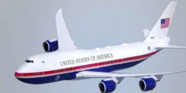 A rendering shows Air Force One with a new red, white and blue paint job requested by the Pentagon.