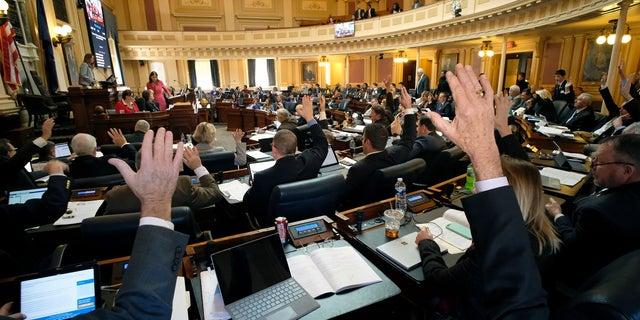 Republican members raise their hands to ask for a recorded vote on one of several gun-related bills during the floor session of the House of Delegates in Richmond, Va last month. (Bob Brown/Richmond Times-Dispatch via AP)