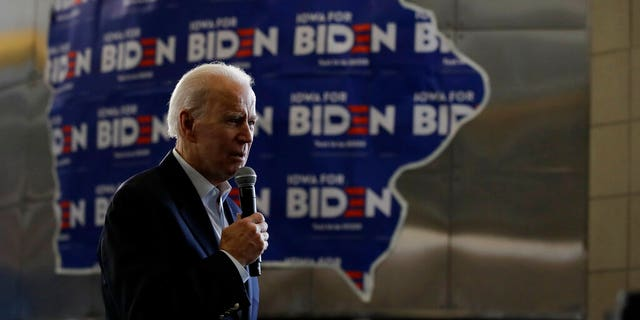 Democratic presidential candidate former Vice President Joe Biden speaks during a campaign event Sunday, Feb. 2, 2020, in Dubuque, Iowa. (AP Photo/Marcio Jose Sanchez)