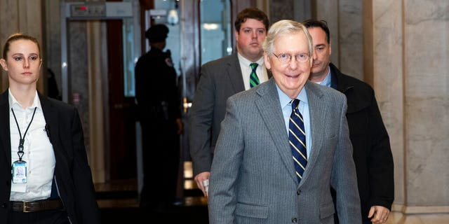 Senate Majority Leader Mitch McConnell of Ky., arrives on Capitol Hill, Monday, Feb. 3, 2020 in Washington. (AP Photo/Alex Brandon)