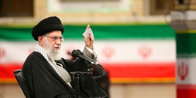 Supreme Leader Ayatollah Ali Khamenei speaks in a meeting in Tehran, Iran, Feb. 5, 2020. Khamenei said Wednesday that Donald Trump's Mideast plan will not outlive the president. (Office of the Iranian Supreme Leader via AP)