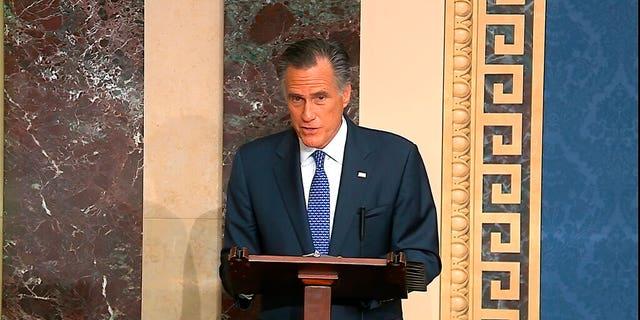 Sen. Mitt Romney, R-Utah, speaks on the Senate floor about the impeachment trial against President Trump on Feb. 5, 2020. (Senate Television via AP)