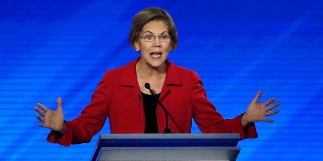 Democratic presidential candidate Sen. Elizabeth Warren, D-Mass., speaks during a Democratic presidential primary debate, Friday, Feb. 7, 2020, in Manchester, N.H. (Associated Press)