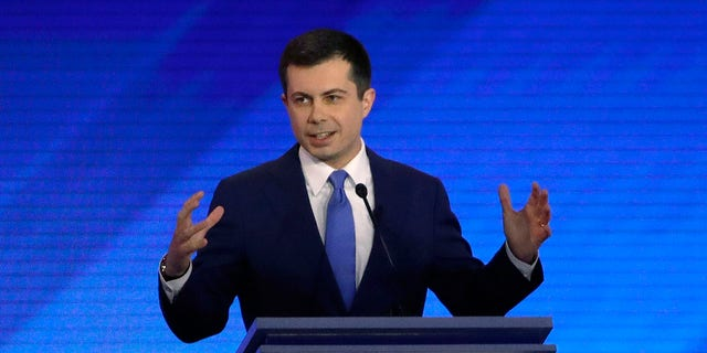 Democratic presidential candidate former South Bend, Ind., Mayor Pete Buttigieg speaks during a Democratic presidential primary debate, Friday, Feb. 7, 2020, in Manchester, N.H. (Associated Press)