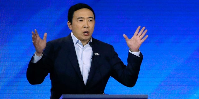 Democratic presidential candidate entrepreneur Andrew Yang speaks during a Democratic presidential primary debate, Friday, Feb. 7, 2020, in Manchester, N.H. (Associated Press)