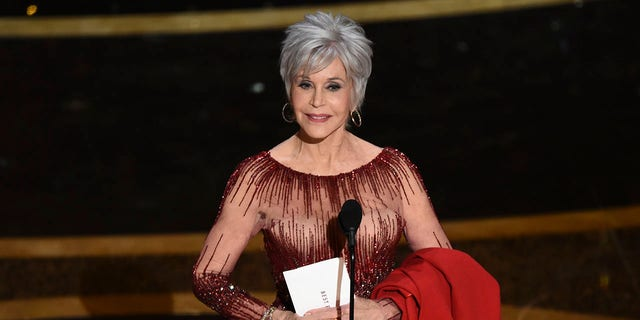 Jane Fonda presents the award for best picture at the Oscars on Sunday, Feb. 9, 2020, at the Dolby Theatre in Los Angeles.