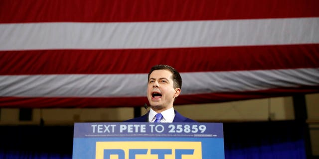 Democratic presidential candidate former South Bend, Ind., Mayor Pete Buttigieg speaks to supporters at a primary night election rally at Nashua Community College, Tuesday, Feb. 11, 2020, in Nashua, Iowa. (AP Photo/Andrew Harnik)