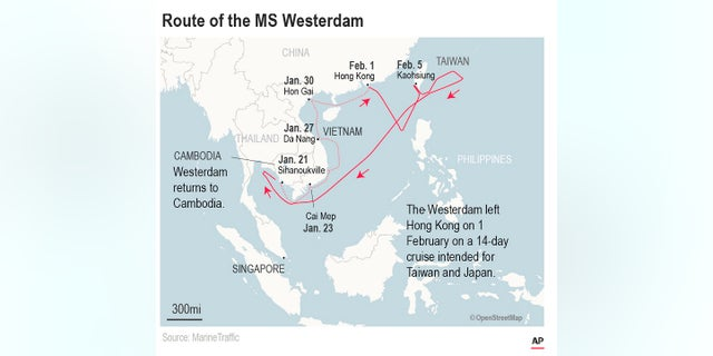 Thailand had said Tuesday that it would not allow the MS Westerdam to dock at a Thai port after it had already been turned away by the Philippines, Taiwan and Japan. Cambodia will allow passengers to disembark there.