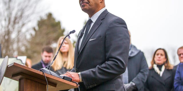 Indiana Attorney General Curtis Hill speaks at a burial service, Wednesday, Feb. 12, 2020, at Southlawn Cemetery in South Bend, Ind., for the more than 2,400 fetal remains found at the home of an abortion doctor.