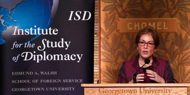 Former Ambassador to Ukraine Marie Yovanovitch speaks at Georgetown University in Washington, Wednesday, Feb. 12, 2020.
