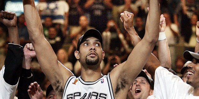 Tim Duncan, arguably the best power forward of all-time, is the No. 7 greatest player in NBA history. (AP Photo/Eric Gay, File)