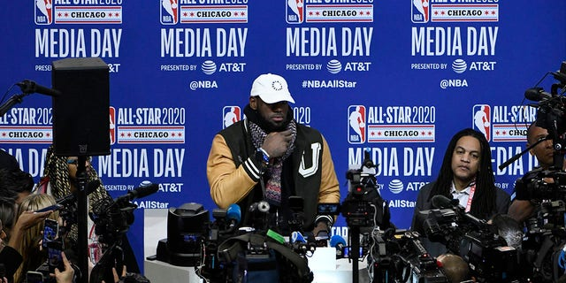 LeBron James, of the Los Angeles Lakers, talks with the media during the NBA All-Star basketball game media day, Saturday, Feb. 15, 2020, in Chicago. (Associated Press)