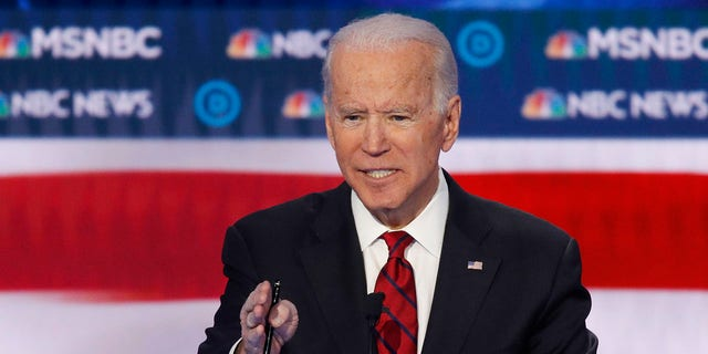Democratic presidential candidate, former Vice President Joe Biden speaks during a Democratic presidential primary debate Wednesday, Feb. 19, 2020, in Las Vegas. (Associated Press)