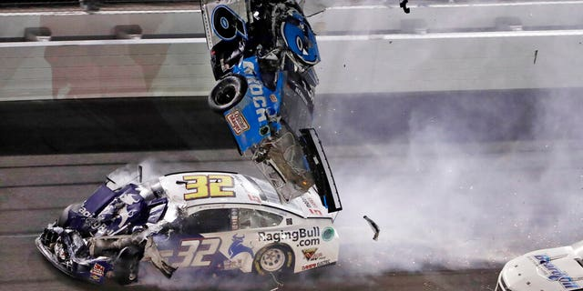 Ryan Newman (6) went airborne after crashing into Corey LaJoie (32) during the Daytona 500.
