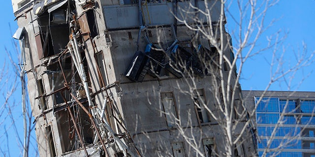 'Leaning Tower of Dallas' endures blows from wrecking ball