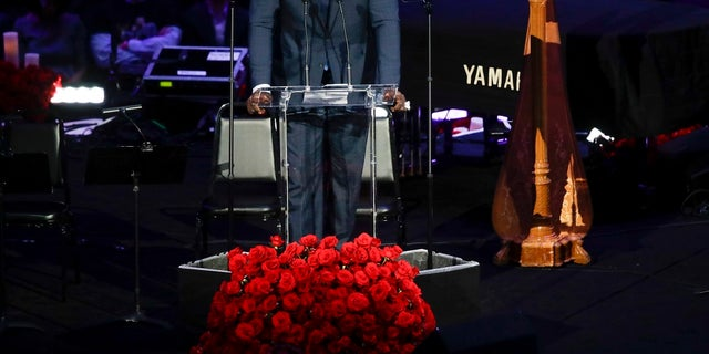 Shaquille O'Neal speaks during a celebration of life for Kobe Bryant and his daughter Gianna on Monday in Los Angeles. (AP Photo/Marcio Jose Sanchez)