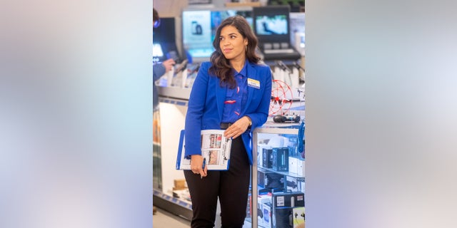 "This image released by NBC shows America Ferrera as Amy in a scene from the comedy series ""Superstore."""