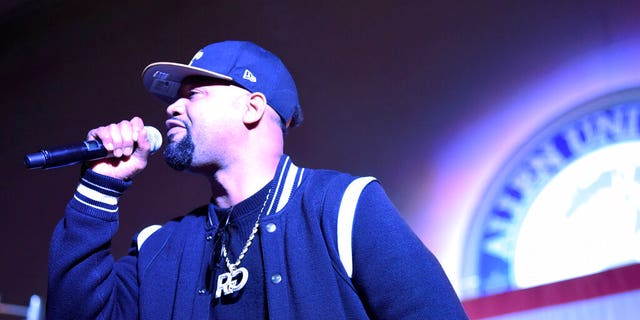 Rapper Juvenile performs at an election-eve rally for Democrat Tom Steyer the night before the South Carolina presidential primary on Friday, Feb. 28, 2020, in Columbia, S.C. (AP Photo/Meg Kinnard)