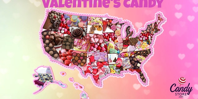 Based on data from the past 12 years, a bulk candy store ranked each state's favorite Valentine's Day candy.<br>