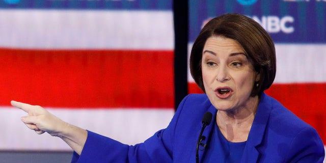 Democratic presidential candidate Sen. Amy Klobuchar, D-Minn., speaks during a Democratic presidential primary debate Wednesday, Feb. 19, 2020, in Las Vegas. (Associated Press)