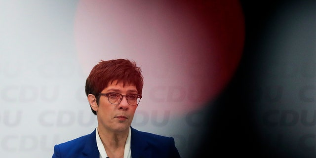 Christian Democratic Union party (CDU) chairwoman and Defense Minister Annegret Kramp-Karrenbauer speaks during a press conference in Berlin, Germany, Monday.(AP Photo/Markus Schreiber)