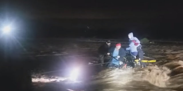 An Arizona family and their dog narrowly avoided being swept away after their SUV got stuck in rushing floodwaters on Saturday.