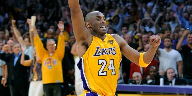 ​​​​​​​Los Angeles Lakers guard Kobe Bryant reacts as Game 7 of the NBA Finals against the Boston Celtics ends in Los Angeles, June 17, 2010. (Associated Press)