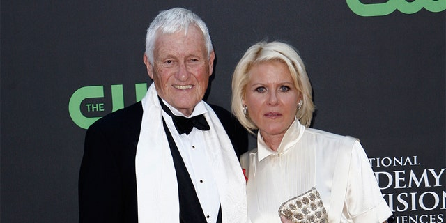 FILE - In this file photo dated Sunday, Aug. 30, 2009, actor and comedian Orson Bean and his wife Alley Mills arrive at the Daytime Emmy Awards in Los Angeles, USA. (AP Photo/Matt Sayles)