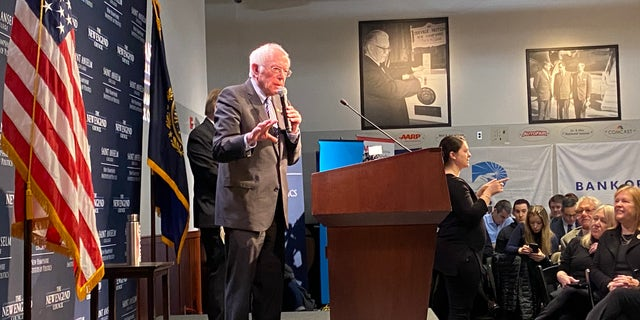 Democratic presidential candidate Sen. Bernie Sanders of Vermont headlines the 'Politics and Eggs' speaking series at the New Hampshire Institute of Politics in Manchester, N.H., on Feb. 7, 2020
