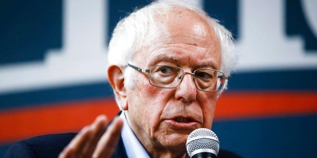 Democratic presidential candidate Sen. Bernie Sanders, I-Vt., speaks at a campaign field office, Sunday, Feb. 2, 2020, in Newton, Iowa. (AP Photo/Matt Rourke)
