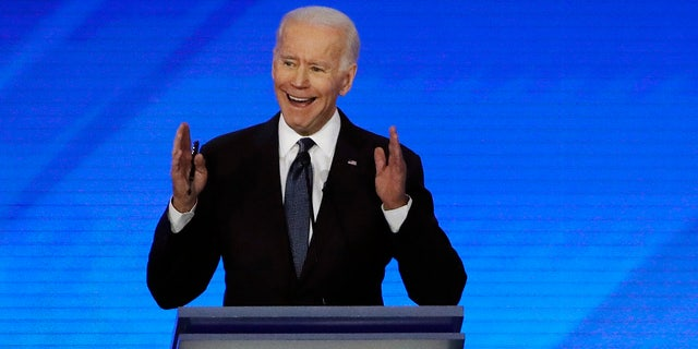 Former Vice President Joe Biden speaks during a Democratic presidential primary debate, Friday, Feb. 7, 2020, in Manchester, N.H. (Associated Press)