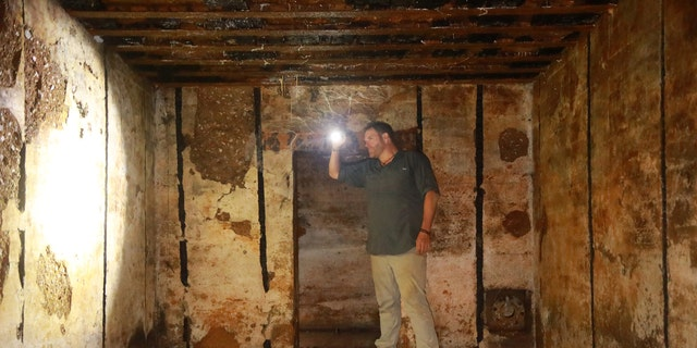 Josh Gates investigates the newly unearthed WWII bunker at Maisy Battery, in Normandy, France.
