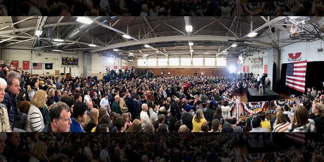 This panorama photo shows the crowd at Buttigieg's Nashua rally.
