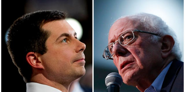 This combination of Jan. 26, 2020, photos shows at left, Democratic presidential candidate former South Bend, Ind., Mayor Pete Buttigieg on Jan. 26, 2020, in Des Moines, Iowa. (AP Photo)