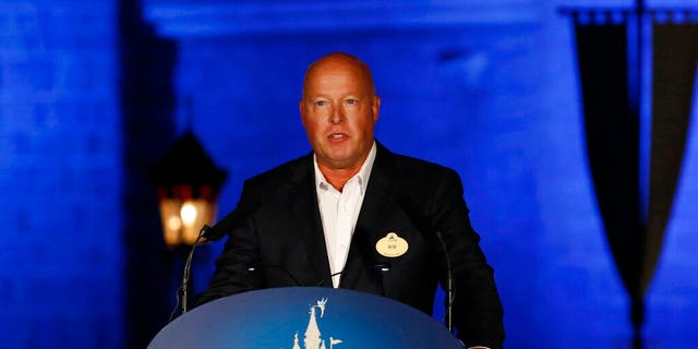 FILE - In this Sept. 11, 2015 file photo, Bob Chapek speaks during a ceremony at the Hong Kong Disneyland. (AP Photo/Kin Cheung, File)