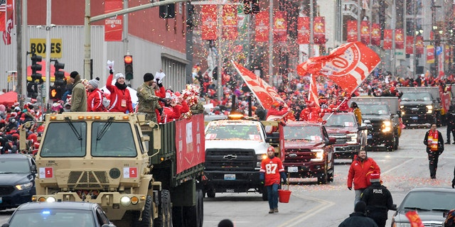 The Kansas City Chiefs victory parade makes its way through downtown Kansas City, Mo., Wednesday, Feb. 5, 2020, to celebrate their victory in the NFL's Super Bowl 54. (AP Photo/Reed Hoffmann)
