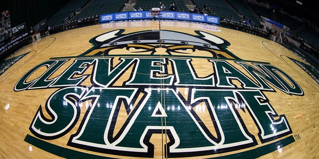 CLEVELAND, OH - JANUARY 14: The Cleveland State Vikings logo adorns center court prior to the NCAA Women's Basketball game between the UIC Flames and Cleveland State Vikings on January 14, 2017, at the Wolstein Center in Cleveland, OH. (Photo by Frank Jansky/Icon Sportswire via Getty Images)