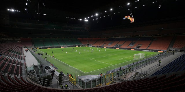 A general view inside the empty stadium, fans cannot attend the match due to the medical emergency Covid-19 (Coronavirus), during the UEFA Europa League round of 32 second leg match between FC Internazionale and PFC Ludogorets Razgrad at Giuseppe Meazza Stadium on February 27, 2020 in Milan, Italy. (Photo by Emilio Andreoli - UEFA/UEFA via Getty Images )