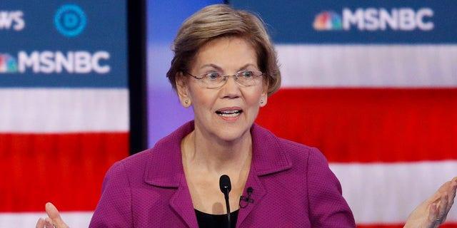 Democratic presidential candidate Sen. Elizabeth Warren, D-Mass., speaks as during a Democratic presidential primary debate Wednesday, Feb. 19, 2020, in Las Vegas. (Associated Press)