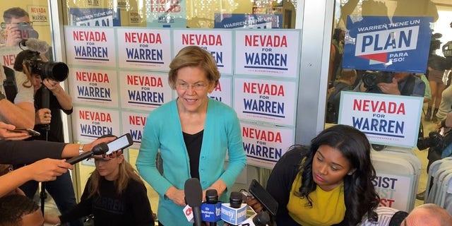 Democratic presidential candidate Sen. Elizabeth Warren of Massachusetts speaks with reporters in North Las Vegas, Nevada on Feb. 20, 2020