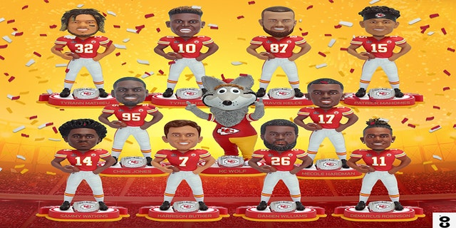 From left to right top row: Tyrann Mathieu, Tyreek Hill, Travis Kelce and Patrick Mahomes. Middle row: Chris Jones, KC Wolf, Mercole Hardman. Bottom row: Sammy Watkins, Harrison Butker, Damien Williams, Demarcus Robinson.